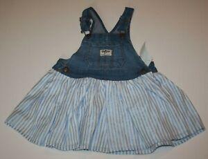 New OshKosh Girls Sparkle Stripe Jumper Dress Overalls Vestbak NWT 24m 3T 4T 5T