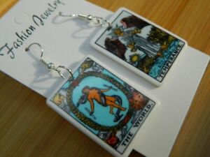 pair Asymmetrical TAROT CARDS drop earrings ART psychic MAGICAL fortune teller