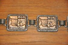 Vtg Retro 70s Silvertone Etched Metal Panel Belt Native American Canoe Water