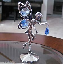 Fairy Figurine made with Swarovski Sapphire Octagon Drop Prisms Silver Plated