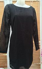 New Next size 10 Tall Women's Square Cut Out Black Cotton Dress £50