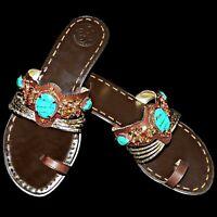 BCBG Generation BG Jam Gold Metallic Snake Jeweled Rhinestone Turquoise Sandal 8