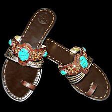 c96c3cad6 BCBG Generation BG Jam Gold Metallic Snake Jeweled Rhinestone Turquoise  Sandal 8