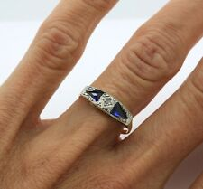 Antique Art Deco Ring in 18k Yellow Gold & Platinum with Diamond & Sapphire