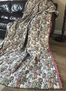 Vintage Woven Tapestry Door Curtain Cabbage Roses w Tassel Trim Country House