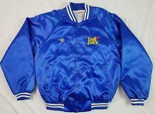 PYA MONARCH BALL PARK Mens Satin Jacket HOT DOGS Blue LARGE USA VTG 1980's FOOD
