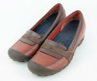 MERRELL PLAZA Women's 8.5 - RED BROWN LEATHER LOAFERS SLIP ON FLAT COMFORT SHOES