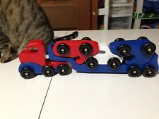 Wooden Toy Semi Car Hauler - Handmade - 5 Pieces Red/White/Blue