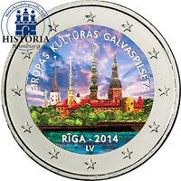 Lettland 2 Euro Gedenkmünze 2014 bfr. Europäische Kulturhauptstadt Riga in Farbe