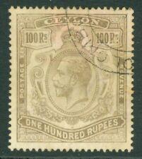 SG 321 Ceylon 1912-25. 100r grey-black. Very fine used part Colombo CDS