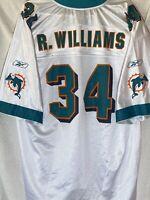 Vintage Reebok NFL Miami Dolphins Ricky Williams #34 Jersey Size XL