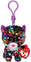 "2019 TY Flippables Sequin 3"" DOTTY the Leopard Beanie Boo Key Clip Plush MWMTs"