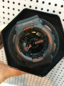 Casio G-Shock GA-110LS-1A Semi-Transparent Fluorescent Black and Orange Analog
