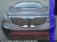 GTG Polished 2PC Overlay Bumper Billet Grille Kit fits 2011 - 2014 Kia Sportage