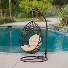 Outdoor Patio Furniture Brown All-Weather Wicker Lounge Egg Chair