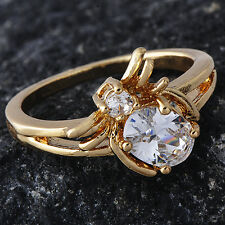 Anniversary Cute Clear clear crystal Bee Ring Gold Plated For Womens Size 5