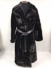 """Vintage Beaver or Mink Fur Long Coat 36"""" Chest 44"""" Long Leather belt Pockets"""