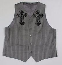 Carbon Black Mens Large Gray Pinstripe Cross Embellished Vest Waistcoat V53