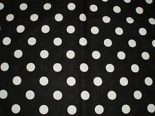 BLACK large WHITE POLKA Dot CIRCLE 100% cotton QUILT craft BTHY Fabric HALF YARD