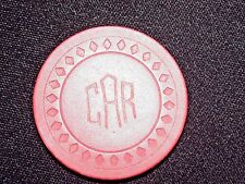 Vintage Red Clay Illegal Engraved C A R Gambling Poker Chip