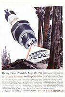 1939 Champion Spark Plugs Vintage Print Ad Thrifty Fleet Operators