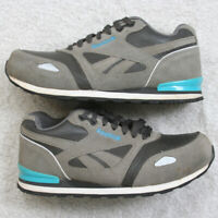 Reebok Woman's Gray Steel Toe Slip Resistant Leather Safety Shoes 8W Eight Wide