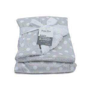 Bubba Blue Polka Dots Cuddle Reversible Blanket Grey