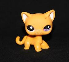 Littlest Pet Shop LPS Orange Shorthair CAT #2433 Purple Dot Eyes yellow white