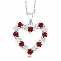 "Diamond and Red Garnet 925 Sterling Silver Heart Pendant Necklace on 18"" Chain"