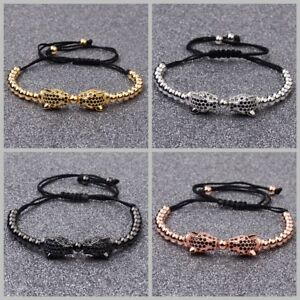 Luxury Zircon Leopard Head Copper Beads Charm Men Handmade Braiding Bracelets