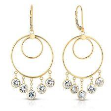 Solid 14k Yellow Gold Round Cubic Zirconia CZ Dangle Drop Chandelier Earrings