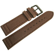 22mm EULIT Brown Canvas with PVD Buckle Made in Germany Mens Watch Band Strap