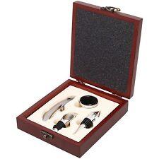 WINE Bottle OPENER Tool Wooden Box GIFT SET 4pcs Corkscrew Pourer Stopper Collar