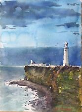 """Watercolor Original Painting Unique 11"""" x 15"""" Lighthouse On The Cliff"""