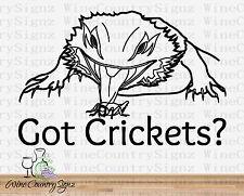 Bearded Dragon Got Crickets Reptile Exotic Decor Vinyl Car/Wall Decal Sticker