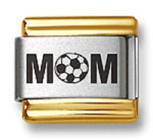 Italian Charm Bracelet Links Laser Soccer MOM Gold Trim 9mm Stainless Steel