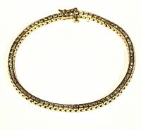 "14k yellow gold 1.52ct round channel bar diamond tennis bracelet 11.7g  7 1/2"""