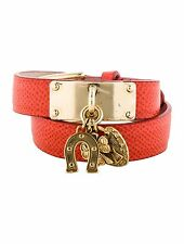 SPECTACULAR NEW DOLCE & GABBANA RED DOUBLE WRAP TEXTURED LEATHER BRACELET