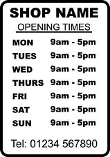 Opening Times Store A4 Size Sticker Window Shop Car Decal Sign Business