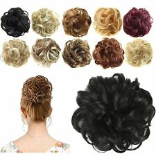 Natural Look Thick Messy Bun Scrunchie Hair Extension Blonde Brown Human UK104