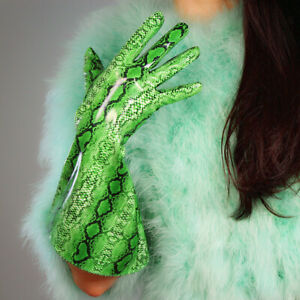LONG GLOVES Unisex Green Snake Faux Leather 38cm Wide Balloon Puff Sleeves Large