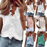 Womens V Neck Ruffle Star Printed Short Sleeve T Shirt Ladies Blouse Shirts Tops
