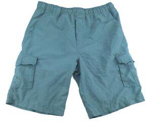 Quicksilver Boys Swim Trunks Shorts Size Large 16-18 Grey Cargo 100% Polyester
