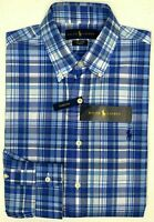 NWT $89 Polo Ralph Lauren LS Cotton Stretch Shirt Mens Size M L XXL  Plaid Blue