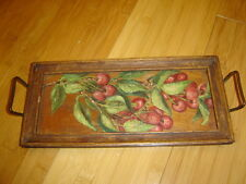 VINTAGE wooden tray cherries hand painted original oil painting cherry