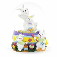 Bunnies Decorating Easter Eggs Snow Globe
