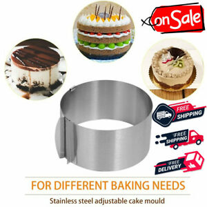 """Cake Ring Adjustable 6-12""""IN Mold Round Mousse Mould Stainless Steel Baking Tool"""