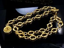 100% Auth CHANEL Gold-Tone Thick Double Chain Belt Coco Mark Charm M143