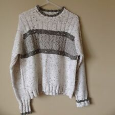 Women's Columbia Heavy Cable Knit Crew Neck Ivory Gray Sweater L Large
