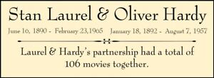 Laurel & Hardy Custom Laser Engraved 2 x 5 inch Plaque Plate  FREE SHIP